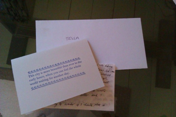 Letter from Sarah to Tessa
