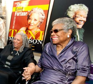Maya Angelou and Toni Morrison at the My Sheer Good Fortune event at Virginia Tech. (Photo used with their kind permission.)