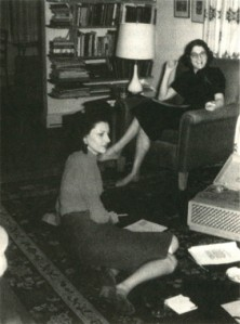 Anne Sexton (left) and Maxine Kumin (right)  at a creative writing workshop With kind permission from Nancy K. Miller.