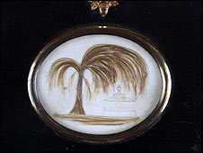 This pendant is set with what is supposed to have been Jane Austen's hair. A lock of which was set for Fanny Austen, and another sent to Jane's dear friend, Anne Sharp.