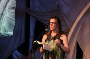 Katy Darby reading Moby Dick at the South Bank by 2 On the Run Photography