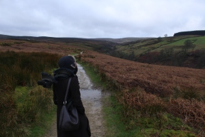 Walking on the moors by the Parsonage - as you can see from my scarf, there was a wuthering wind!